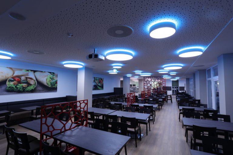 LED FLAIRPOINT Deckenleuchte mit RGB Korona - ENDLIGHT Lichtobjekte GmbH Projekt Klinikum Vest Recklinghausen